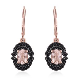 Marropino Morganite, Thai Black Spinel Vermeil RG Over Sterling Silver Lever Back Earrings TGW 2.28 cts.