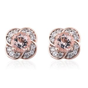 Marropino Morganite, Cambodian Zircon Vermeil RG Over Sterling Silver Floral Stud Earrings TGW 2.11 cts.
