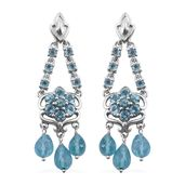 Madagascar Paraiba Apatite Platinum Over Sterling Silver Chandelier Earrings TGW 9.50 cts.