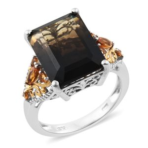 Amazon Quartz, Santa Ana Madeira Citrine 14K YG and Platinum Over Sterling Silver Ring (Size 7.0) TGW 11.25 cts.