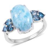 Larimar, London Blue Topaz Sterling Silver Ring (Size 8.0) TGW 8.05 cts.