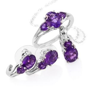 Lusaka Amethyst Platinum Over Sterling Silver Earrings, Ring (Size 6) and Pendant With Chain (20 in) TGW 6.78 cts.