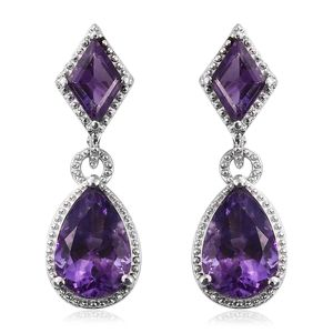 Lusaka Amethyst Platinum Over Sterling Silver Drop Earrings TGW 7.20 cts.