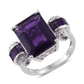 Lusaka Amethyst, Russian Diopside, Cambodian Zircon Platinum Over Sterling Silver Royal Ring (Size 6.0) TGW 12.31 cts.