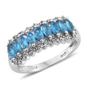 Malagasy Neon Apatite, Cambodian Zircon Platinum Over Sterling Silver Ring (Size 6.0) TGW 1.63 cts.