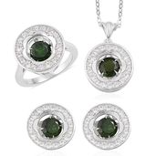 Russian Diopside, White Zircon Sterling Silver Earrings, Ring (Size 6) and Pendant With Chain TGW 5.42 cts.