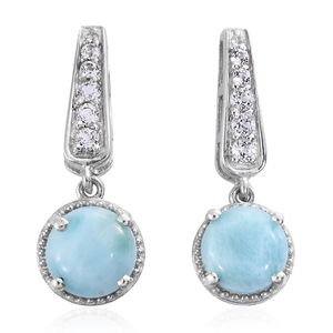 Larimar, White Topaz Platinum Over Sterling Silver Earrings TGW 4.85 cts.