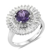 Uruguayan Amethyst, White Topaz Platinum Over Sterling Silver Ring (Size 5.0) TGW 3.85 cts.