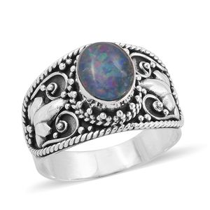 Bali Legacy Collection Australian Boulder Opal Sterling Silver Ring (Size 7.0) TGW 1.75 cts.