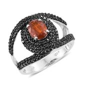 Orange Kyanite, Thai Black Spinel Black Rhodium & Platinum Over Sterling Silver Ring (Size 7.0) TGW 3.30 cts.