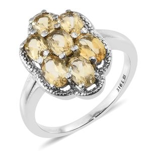 Brazilian Citrine Stainless Steel Floral Ring (Size 5.0) TGW 3.00 cts.
