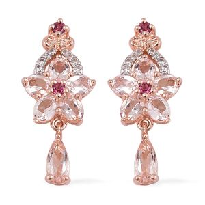 Marropino Morganite, Orissa Rhodolite Garnet, White Zircon Vermeil RG Over Sterling Silver Floral Drop Earrings TGW 2.38 cts.