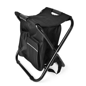 Black Canvas, Iron Inbuilt Back Pack with Portable Folding Chair (19.7x13.8 in)
