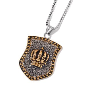 Black Austrian Crystal Black Oxidized, ION Plated YG and Stainless Steel Men's Shield Tag Crown Pendant With Chain (24 in)