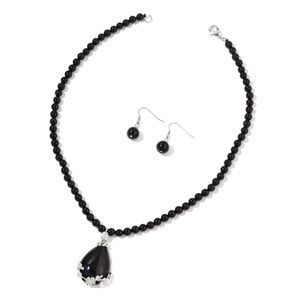 Enhanced Black Agate Stainless Steel Earrings and Necklace (19 in) TGW 180.50 cts.