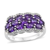 Lusaka Amethyst, Cambodian Zircon Platinum Over Sterling Silver Cluster Ring (Size 5.0) TGW 3.25 cts.