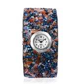 STRADA Japanese Movement Water Resistant Watch with Carnelian, Blue Austrian Crystal Strap and Stainless Steel Back TGW 182.00 cts.