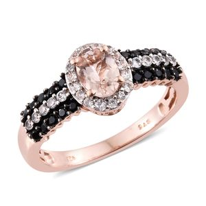 Marropino Morganite, Thai Black Spinel, Cambodian Zircon Vermeil RG Over Sterling Silver Ring (Size 5.0) TGW 1.51 cts.
