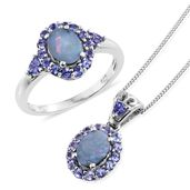 Australian Boulder Opal, Tanzanite Platinum Over Sterling Silver Ring (Size 8) and Pendant With Chain (20 in) TGW 3.42 cts.