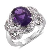Lusaka Amethyst, Cambodian Zircon Platinum Over Sterling Silver Ring (Size 7.0) TGW 5.00 cts.