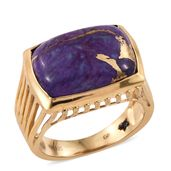 GP Mojave Purple Turquoise 14K YG Over Sterling Silver Ring (Size 10.0) TGW 13.43 cts.