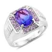 Midnight Fuscia Quartz, Madagascar Pink Sapphire Platinum Over Sterling Silver Men's Ring (Size 13.0) TGW 6.25 cts.