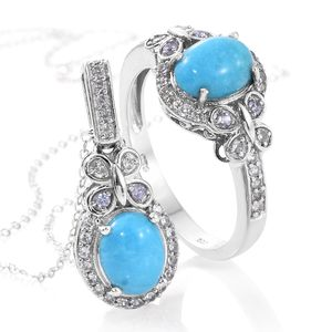 Arizona Sleeping Beauty Turquoise, Tanzanite, Cambodian Zircon Platinum Over Sterling Silver Ring (Size 8) and Pendant With Chain (20 in) TGW 4.02 cts.
