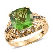 GP Chartreuse Quartz, Green Sapphire Ring in 14K YG Over Sterling Silver 8.15 ct tw (Size 10.0)