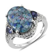 Australian Mosaic Opal, Catalina Iolite, Cambodian Zircon Platinum Over Sterling Silver Ring (Size 11.0) TGW 9.10 cts.