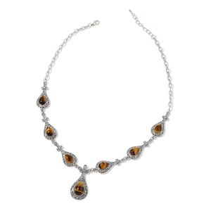 South African Tigers Eye Black Oxidized Silvertone Floral Necklace (22 in) TGW 121.25 cts.