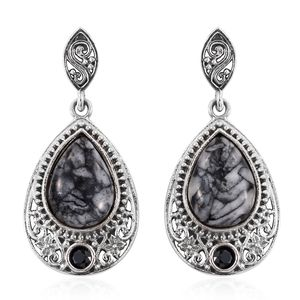 Austrian Pinolith, Thai Black Spinel Sterling Silver Earrings TGW 11.04 cts.