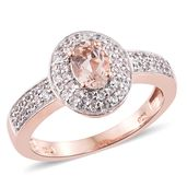 Marropino Morganite, Cambodian Zircon 14K RG and Platinum Over Sterling Silver Ring (Size 7.0) TGW 1.44 cts.