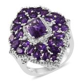 Lusaka Amethyst, Cambodian Zircon Platinum Over Sterling Silver Ring (Size 6.0) TGW 7.45 cts.