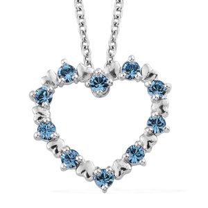 Platinum Over Sterling Silver Heart Pendant With Stainless Steel Chain (20 in) Made with SWAROVSKI Aquamarine Crystal TGW 0.56 cts.
