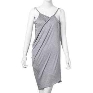Gray 95% Viscose & 5% Spandex Beach Mini Wrap Slip Dress (One Size)