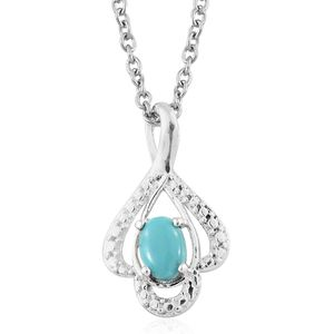 Sonoran Blue Turquoise Sterling Silver Pendant With Stainless Steel Chain (20 in) TGW 0.40 cts.