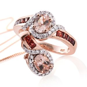 Marropino Morganite, Mozambique Garnet, Cambodian Zircon Vermeil RG Over Sterling Silver Ring (Size 5) and Pendant With Chain (20 in) TGW 3.00 cts.