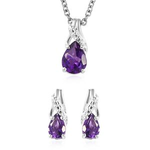Amethyst Sterling Silver Earrings and Pendant With Stainless Steel Chain (20 in) TGW 1.80 cts.