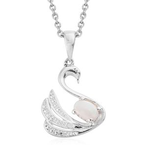 Australian White Opal Sterling Silver Swan Pendant With Stainless Steel Chain (20 in) TGW 0.26 cts.