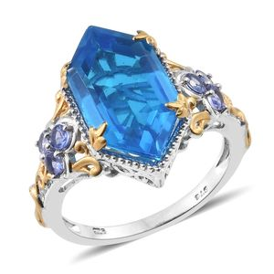 Caribbean Quartz, Tanzanite 14K YG and Platinum Over Sterling Silver Openwork Cocktail Ring (Size 5.0) TGW 9.30 cts.