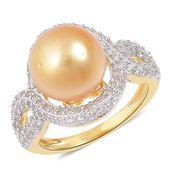 South Sea Golden Pearl (11-12 mm), White Zircon 14K YG Over Sterling Silver Split Shank Ring (Size 8.0) TGW 1.40 cts.