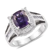 Uruguayan Amethyst, Thai Black Spinel, White Topaz Platinum Over Sterling Silver Ring (Size 10.0) TGW 4.65 cts.
