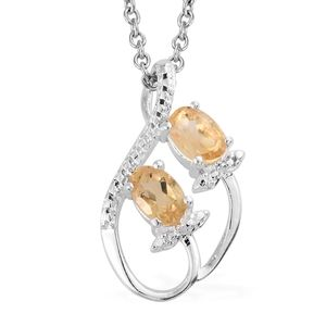 Brazilian Citrine Sterling Silver Pendant With Stainless Steel Chain (20 in) TGW 0.80 cts.