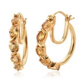 KARIS Collection - Brazilian Citrine ION Plated 18K YG Brass 5 Stone Hoop Earrings TGW 2.40 cts.