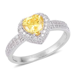 Simulated Yellow and White Diamond Sterling Silver Heart Ring (Size 7.0) TGW 2.75 cts.