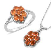Salamanca Fire Opal Platinum Over Sterling Silver Ring (Size 10) and Pendant With Chain (20 in) TGW 1.67 cts.