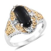 Shungite, Sky Blue Topaz 14K YG and Platinum Over Sterling Silver Openwork Ring (Size 8.0) TGW 2.85 cts.