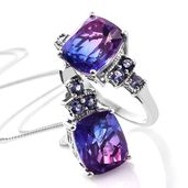 Midnight Fuchsia Quartz, Catalina Iolite Pendant Necklace and Ring in Platinum Over Sterling Silver 13.06 ct tw (Size 10)