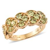 KARIS Collection - Hebei Peridot ION Plated 18K YG Brass Heart Overload Ring (Size 7.0) TGW 2.80 cts.