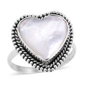 Bali Legacy Collection Mother of Pearl Sterling Silver Heart Ring (Size 10.0)
